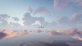 Avião de passageiros do passageiro na opinião dianteira do céu Imagem de Stock