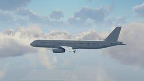 Avião de passageiros do passageiro no céu nebuloso ilustração do vetor