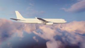 Avião de passageiros do passageiro no céu nebuloso da noite ilustração do vetor