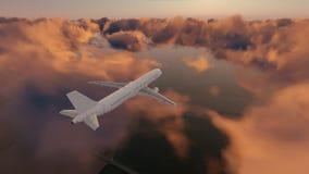 Avião de passageiros do passageiro no céu nebuloso do por do sol ilustração royalty free