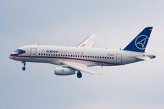 Avião de passageiros Superjet-100 regional Fotografia de Stock Royalty Free