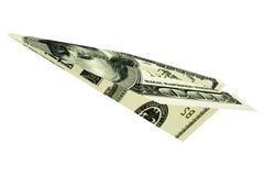 Avião do dólar do dinheiro Imagens de Stock