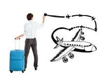 Avião do desenho do homem de negócios imagens de stock royalty free