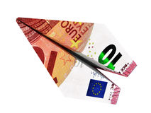 Avião do euro do dinheiro Fotografia de Stock Royalty Free