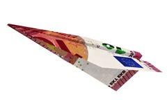 Avião do euro do dinheiro Foto de Stock Royalty Free