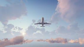 Avião do passageiro que descola no céu do por do sol ilustração stock