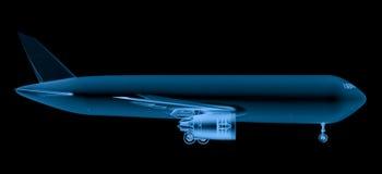 Avião do raio x no fundo preto Imagem de Stock Royalty Free