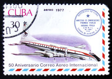 Avião do vintage e prestígio de Havana-Praga Fotografia de Stock
