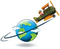 Avião do voo da menina em todo o mundo ilustração royalty free