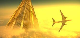 Avião e o edifício moderno Imagens de Stock