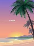 Avião e prancha tropicais da palmeira do paraíso Paisagem ensolarada do oceano do mar da praia da costa da areia Fundo do vetor Imagens de Stock