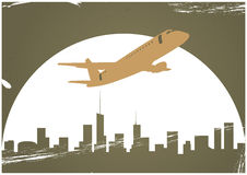 Avião e skyline Foto de Stock