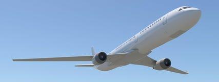 Avião em um fundo do céu azul ilustração do vetor