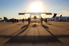 Avião histórico de Farman 4 em Zhukovsky durante o airshow MAKS-2015 Foto de Stock Royalty Free