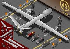 Avião isométrico do zangão aterrado na vista traseira ilustração do vetor