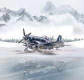 Avião militar da segunda guerra mundial com queda de neve pesada imagem de stock royalty free