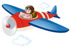 Avião piloto do vermelho do voo Fotografia de Stock Royalty Free