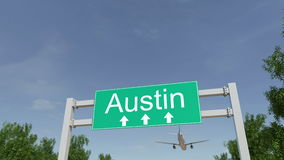 Avião que chega ao aeroporto de Austin Viagem à animação 4K conceptual do Estados Unidos ilustração stock