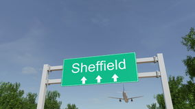 Avião que chega ao aeroporto de Sheffield Viagem à rendição 3D conceptual de Reino Unido fotos de stock