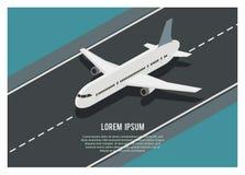 Avião que corre na pista de decolagem, ilustração isométrica simples Imagem de Stock