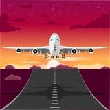 Avião que descola da pista de decolagem na noite ilustração royalty free