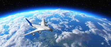 Avião que voa sobre o planeta Fotografia de Stock Royalty Free