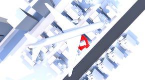 Avião sobre a cidade Fotos de Stock Royalty Free