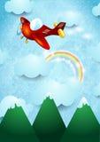 Avião sobre a montanha Foto de Stock