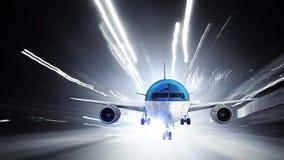 Avião sobre a pista de decolagem Meios mistos Foto de Stock