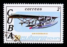 Avião, 50th aniversário do serie da linha aérea CUBANA, cerca de 1979 Fotos de Stock