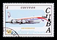 Avião, 50th aniversário do serie da linha aérea CUBANA, cerca de 1979 Fotografia de Stock Royalty Free