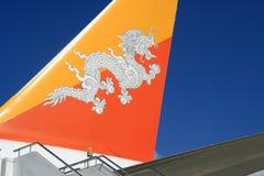 Avión - aeropuerto internacional - Paro - Bhután Imagenes de archivo