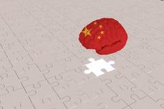 Avión blanco del rompecabezas para la bandera de China al cerebro libre illustration