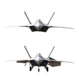 Avión de combate aislado en 2 posiciones Imágenes de archivo libres de regalías