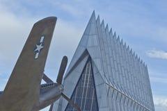Avión de combate en la capilla de la academia de fuerza aérea, CO Imagen de archivo libre de regalías