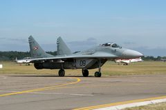Avión de combate húngaro del fulcro de la fuerza aérea MiG-29 Fotografía de archivo