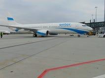 Avión de EnterAir en pista Fotos de archivo libres de regalías