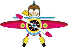 Avión de la historieta con el piloto stock de ilustración
