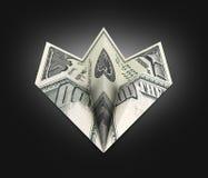 Avión de papel del dólar en el fondo negro 3d de la pendiente ilustración del vector