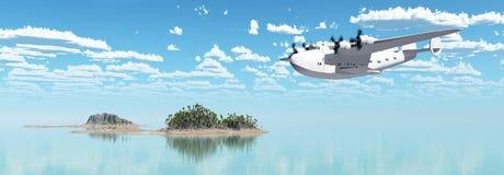 Avión de pasajeros americano del barco que vuela de la Segunda Guerra Mundial stock de ilustración