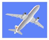 Avión de pasajeros antes de aterrizar Imagen de archivo
