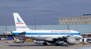 Avión de pasajeros de la línea aérea de US Airways Fotos de archivo libres de regalías