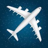 Avión de pasajeros en el cielo de la estrella Imagenes de archivo