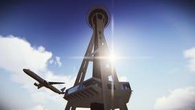 Avión de pasajeros que vuela sobre la aguja del espacio en la cantidad de Seattle libre illustration