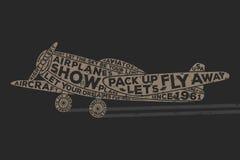 Avión del estilo del vintage con caligrafía Diseño de la impresión de la camiseta del vintage Gráficos de la camiseta Cartel dibu Imagenes de archivo