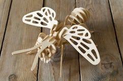 Avión del juguete del diseñador de piezas de madera Fotografía de archivo