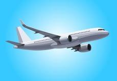 avión del vector Concepto plano Avión realista en el cielo Modelo plano Diseño del vector Foto de archivo libre de regalías