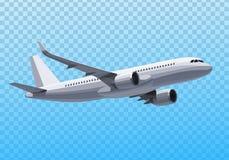 avión del vector Concepto plano Avión realista en el fondo transparente Modelo plano Diseño del vector Imágenes de archivo libres de regalías