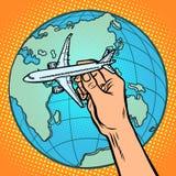 Avión a disposición metáfora del vuelo al hemisferio del este libre illustration