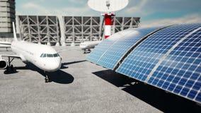 Avión en el aeropuerto Luz del día Concepto del negocio y del viaje stock de ilustración